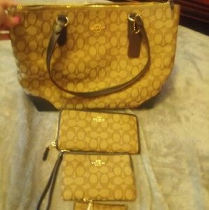 Coach Bag with wristlet, walletand id holder